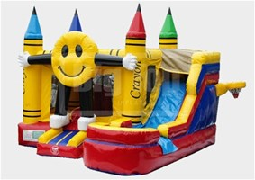 Smiling Emoji Bounce House With Water Slide And Pool The