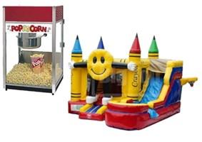 Smiling Emoji Bounce House and Popcorn Machine