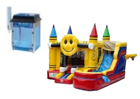 Smiling Emoji Bounce House and Snow Cone Machine